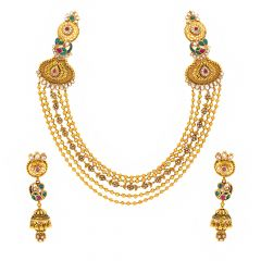 Multi Layer Traditional Design Kundan Gold Necklace