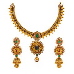 Gold Embossed Traditonal Design Gold Necklace With Kundan