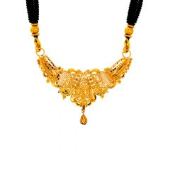 Traditional Filigree Cutout Gold Necklace