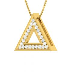 Glittering Triangle Medallion Design Diamond Pendant