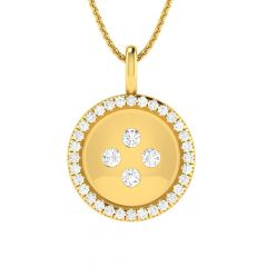 Glittering Matte Bold Button Design Diamond Pendant