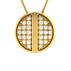 Sparkling Glitzy Halves Design Diamond Pendant