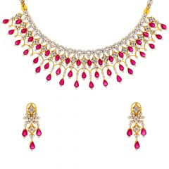 Classy Drop Faceted Natural Ruby Diamond Necklace Set