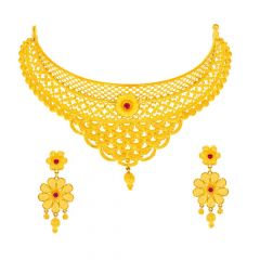 Glossy Matte Finish Filigree Floral Drop Chokar Design Studded With Synthetic RubyGold Necklace Set