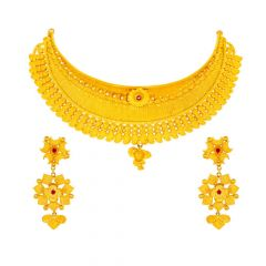 Matte Glossy Finish Floral Chokar Design Studded With Synthetic Ruby Gold Necklace Set