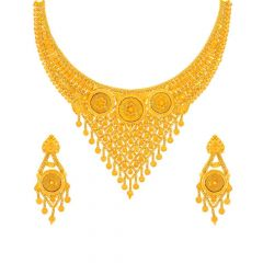 Glossy Finish Floral Drop Chokar Design Gold Necklace Set