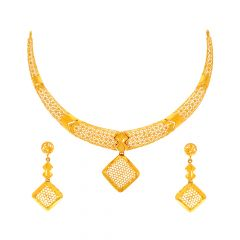 Dazzling Geometrical Cutout Gold Necklace Set