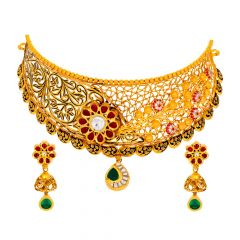 Traditional Asymetrical Kundan Gemstone Gold Necklace Set