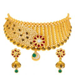 Traditional Abstract Filigree Kundan Gold Necklace Set