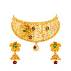 Traditional Embossed Cutout Floral Kundan Gold Necklace Set