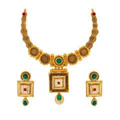 Antique Geometrical Kundan Gold Necklace Set