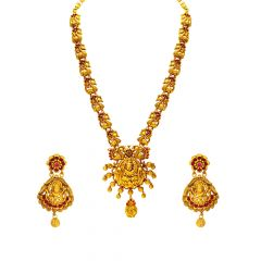 Traditional Peacock Temple Synthetic Gemstone Necklace Set