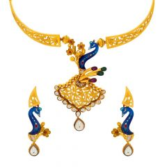 Matte Antique Finish Filigree Enamel Floral Leafy Peacock Design Synthetic Kundan Studded With CZ Gold Necklace Set