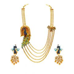Royal Enamel Peacock Kundan Gemstone Gold Rani Haar Set