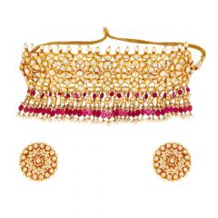 Glossy Finsih Floral Chokar Design CZ Studded With Synthetic Kundan Pearl Gold Necklace Set