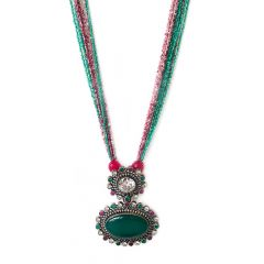 Green Onyx Studded Pendant With Pink And Green Semiprecious Beads