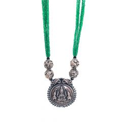 Silver Temple Jewellery Pendant And Carved Balls In Green Glass Beads