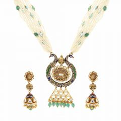 Meenakari Peacock Design Kundan Stone Nakashi Work Gold Necklace Set