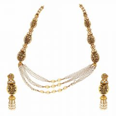 Diamond Cut Glossy Finish Gold Necklace Set