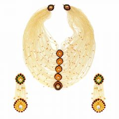 Thread Design Semi Precious And Kundan Stone Meenawork Gold Necklace Set