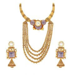 Meenakari Design In Antique Finish Kundan Stone Gold Necklace Set