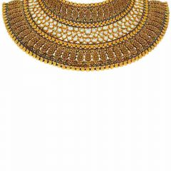 Antique Finish Beaded Choker Design With Kundan Stone Gold Necklace