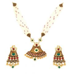 Antique Finish Kundan With Colourful Semiprecious Stone Gold Necklace Set