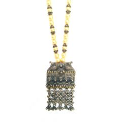 Ethnic Silver Pendant With Natural Golden Pearls From Swarovski