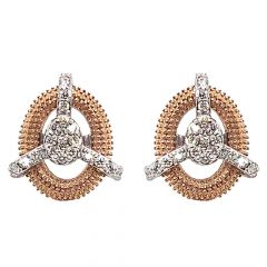 Sparkling Pave Prong Set Two Tone Diamond Earrings