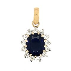 Sparkling Floral Design Studded With Synthetic Colour Stone Diamond Pendant