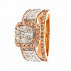 Sparkling Pressure Pave Prong Set Contemporary Two Tone Diamond Ring