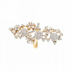 Sparkling Fancy Shapes Cuff Floral Design Diamond Ring