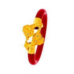 Traditional Textured Fish Pola Gold Bangle (Set Of Two)