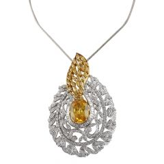 Dazzling Yellow Sapphire With Baguette And Round Brilliant Diamond Pendants Set - PD22-JD85