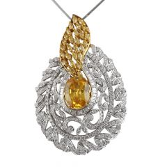 Dazzling Yellow Sapphire With Baguette And Round Brilliant Diamond  Pendants - PD22