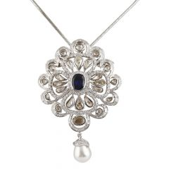 Glossy Finish Cluster Round And Rose Cut Diamond With Blue Sapphire Drop Pearl Rhodium Floral Pendants Set - PD31-JD59