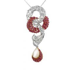 Sparkling Cluster Baguette And Round Brilliant Diamond With Marquise Cut Ruby Drop Pearl Pendants Set - PD66-JD19