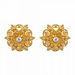 Glossy Finish Floral Heart Design With CZ Studded Gold Earrings