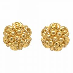 Glossy Finish Floral Design Gold Earrings