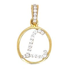 Glossy Finish Alphabet L With CZ Studded Gold Pendant