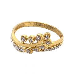 Glossy Finish Leafy Design With CZ Studded Gold Ring