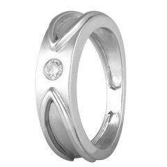 Mat Satin Finish Flush Set Single Solo Platinum Diamond Mens Ring - PDR13