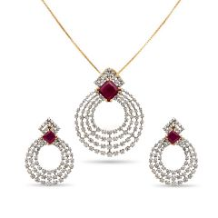 Glittering CZ With Studded Stone Gold Pendant Set - pds1