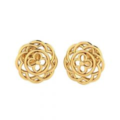 Glossy Finish Floral Cluster Stud Design Gold Earrings