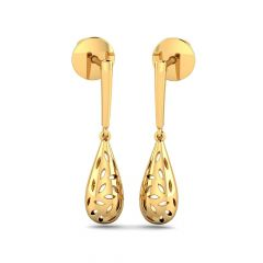Glossy Finish Hanging Drop Gold Earrings