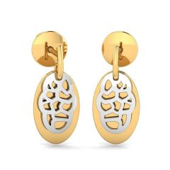 Glossy Finish Dual Shaded Drops Gold Earrings