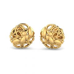 Matte Glossy Finish Nature Cluster Stud Desgin Gold Earrings