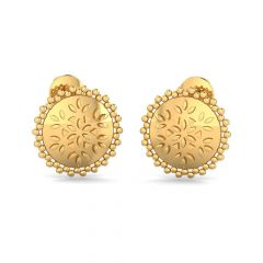 Glossy Finish Textured Gold Stud Earrings