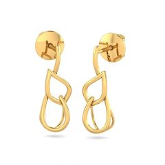 Glossy Finish Simple Floral Design Stud Gold Earrings