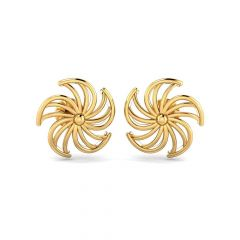 Glossy Finish Swirling Floral Design Stud Gold Earrings
